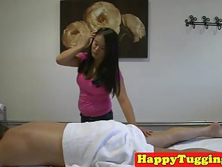 Asian masseuse wanking spycam client